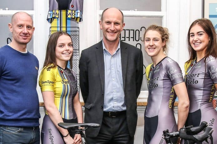 Chris Bishop of Slater Heelis (centre) with members of the SunSport Velo cycling team and coach Stuart Percival (far left)
